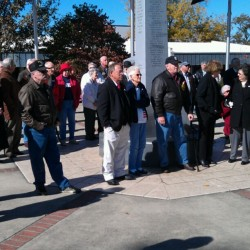 A crowd gathers to participate in the Veteran&#039;s memorial service. (Blake Dodd/wgaaradio.com)
