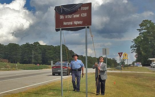 Billy Tanner memorial sign